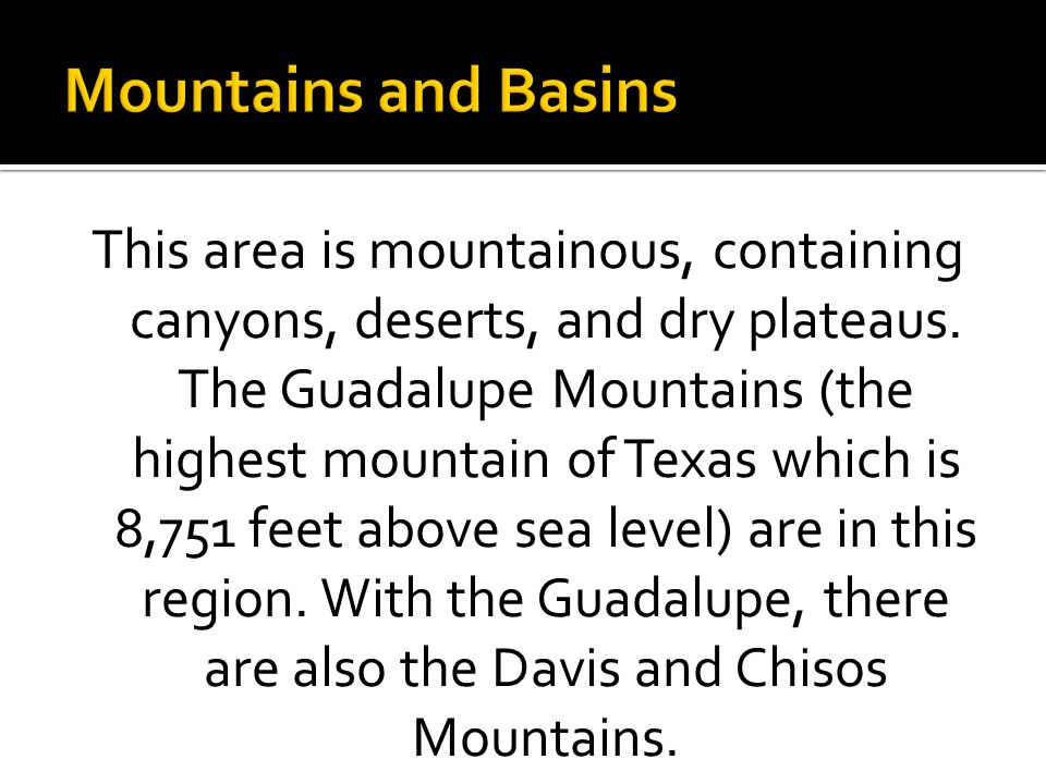 Mountains and Basins