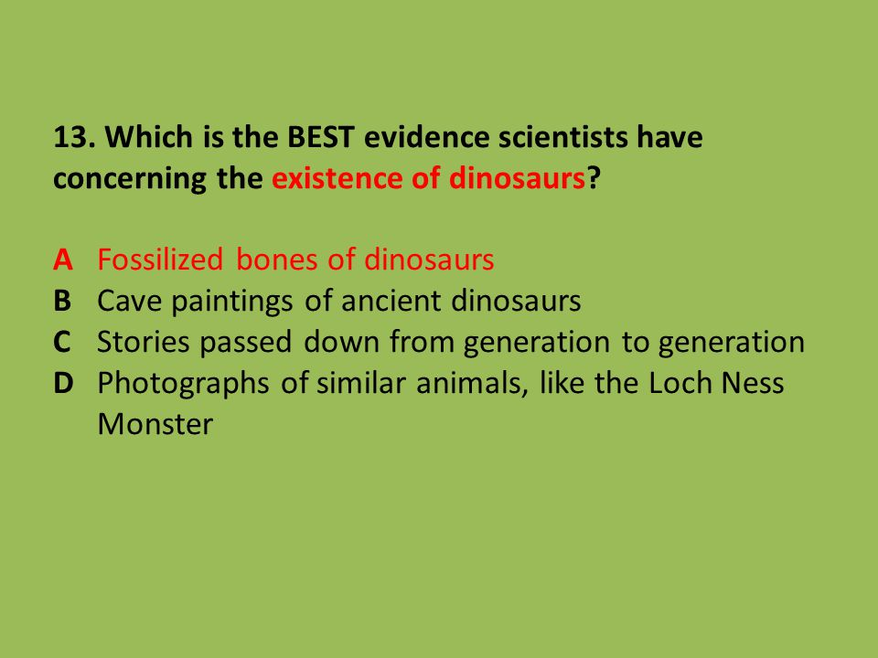 13. Which is the BEST evidence scientists have concerning the existence of dinosaurs.