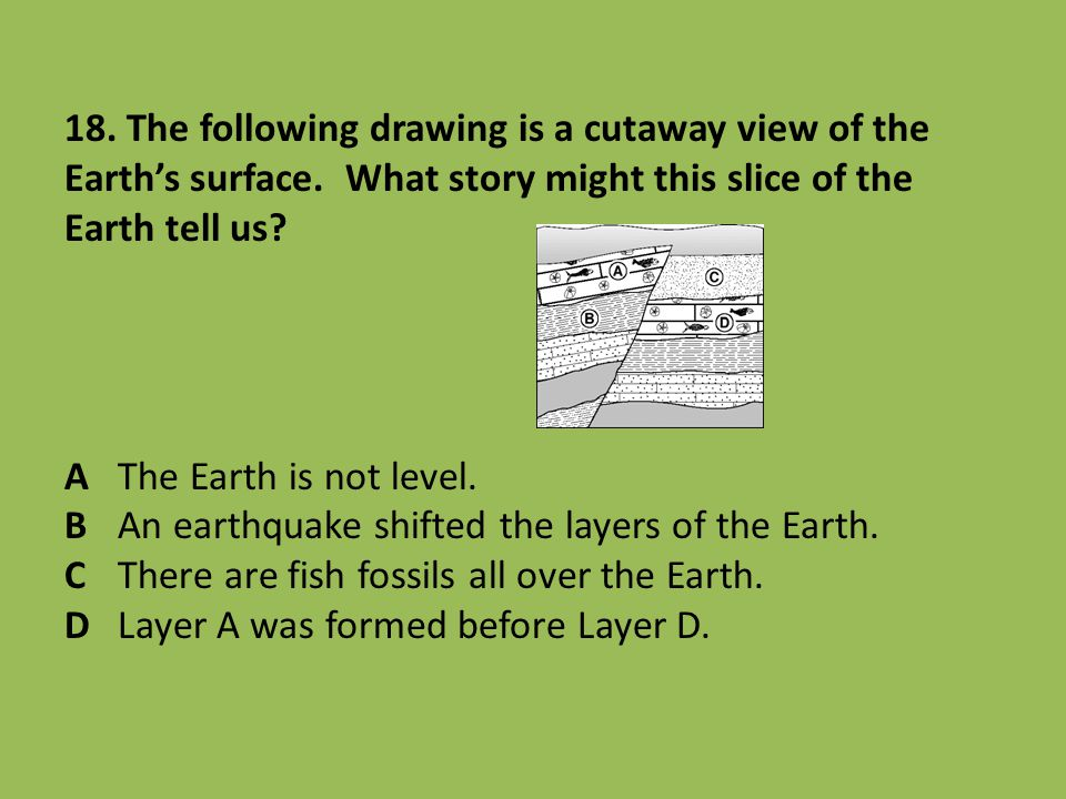 18. The following drawing is a cutaway view of the Earth's surface