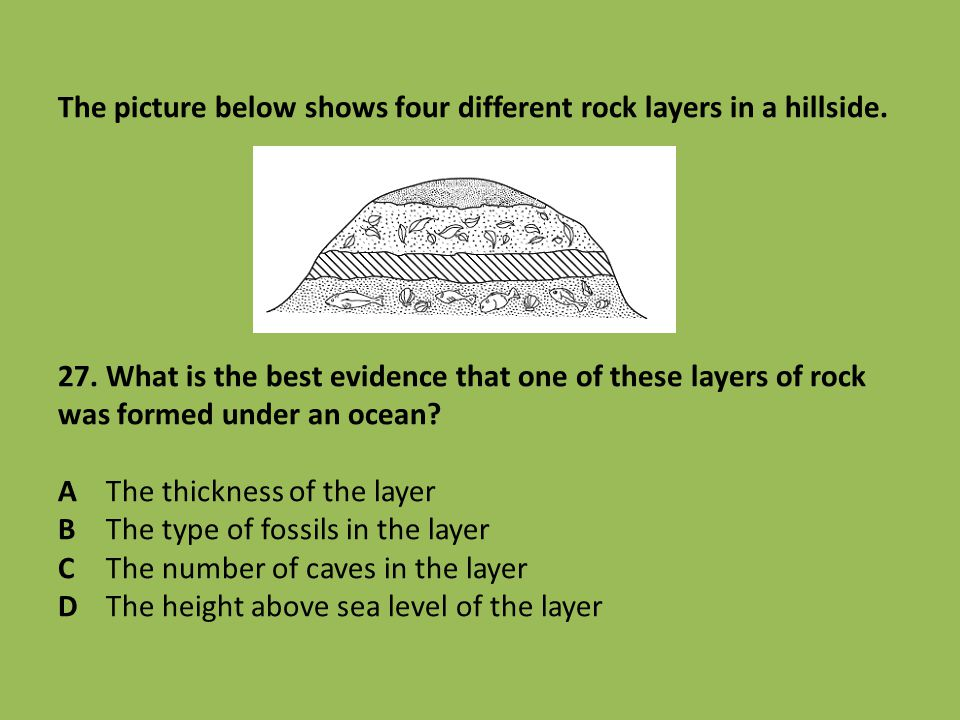The picture below shows four different rock layers in a hillside. 27