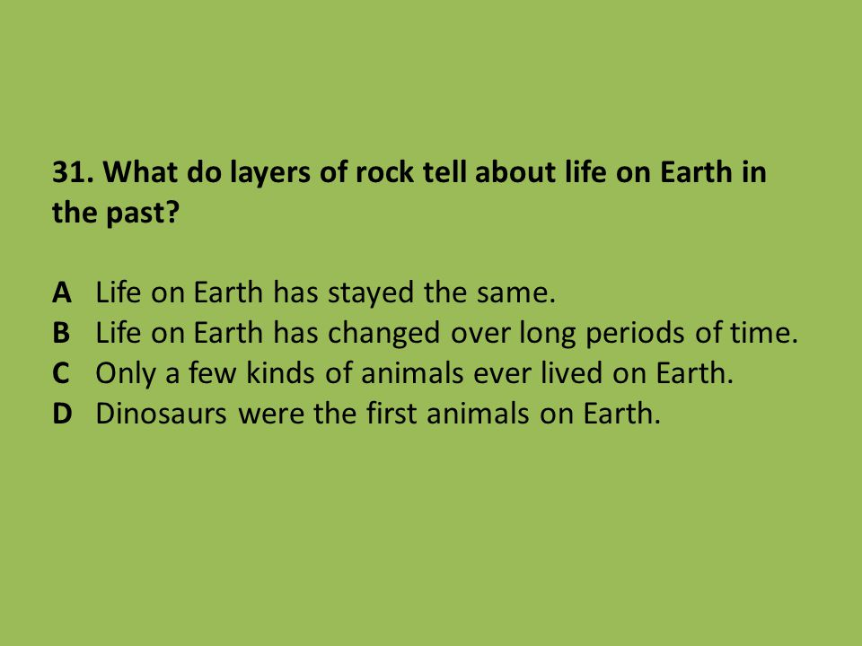 31. What do layers of rock tell about life on Earth in the past. A