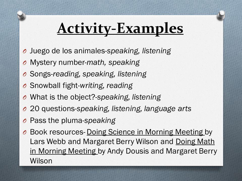 Activity-Examples Juego de los animales-speaking, listening