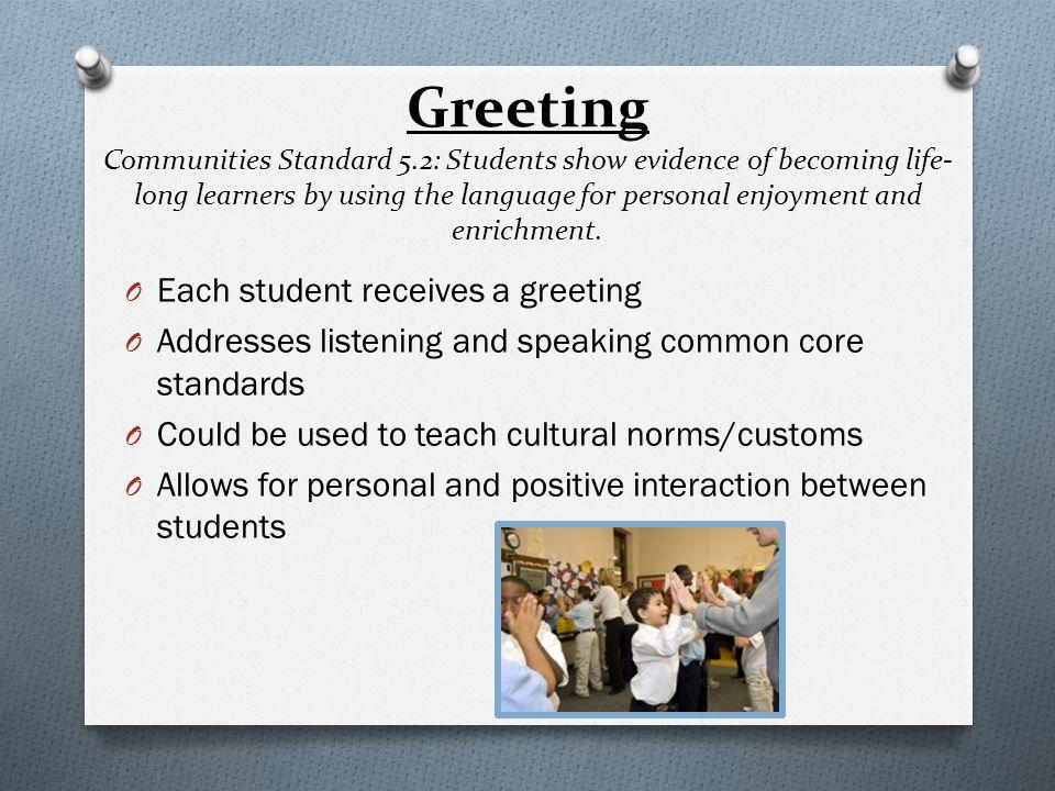 Greeting Communities Standard 5