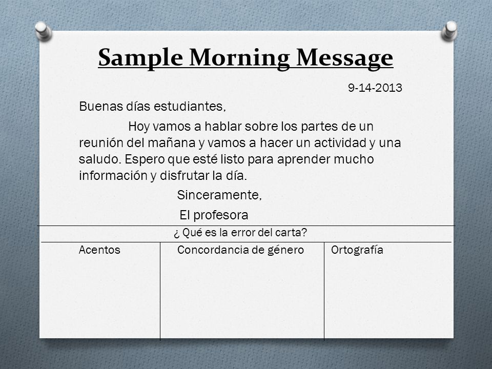 Sample Morning Message