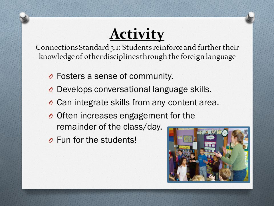 Activity Connections Standard 3