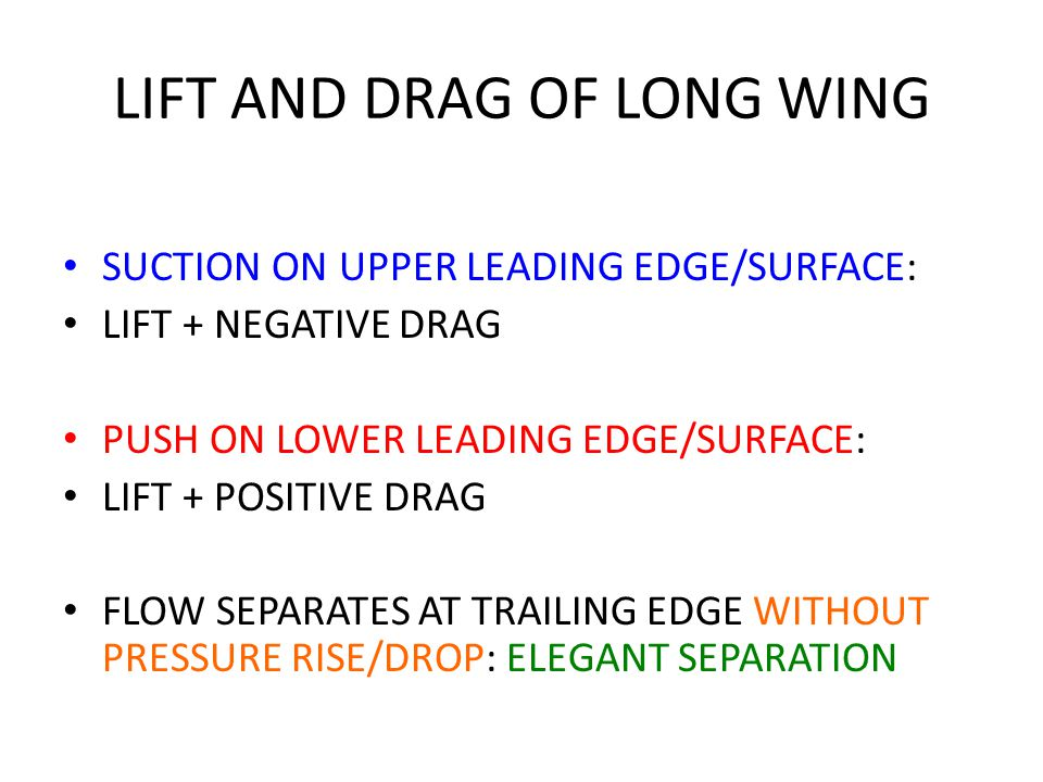 LIFT AND DRAG OF LONG WING