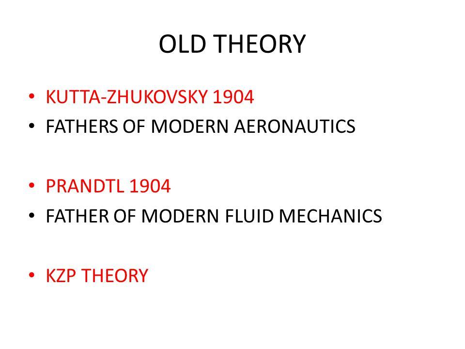 OLD THEORY KUTTA-ZHUKOVSKY 1904 FATHERS OF MODERN AERONAUTICS