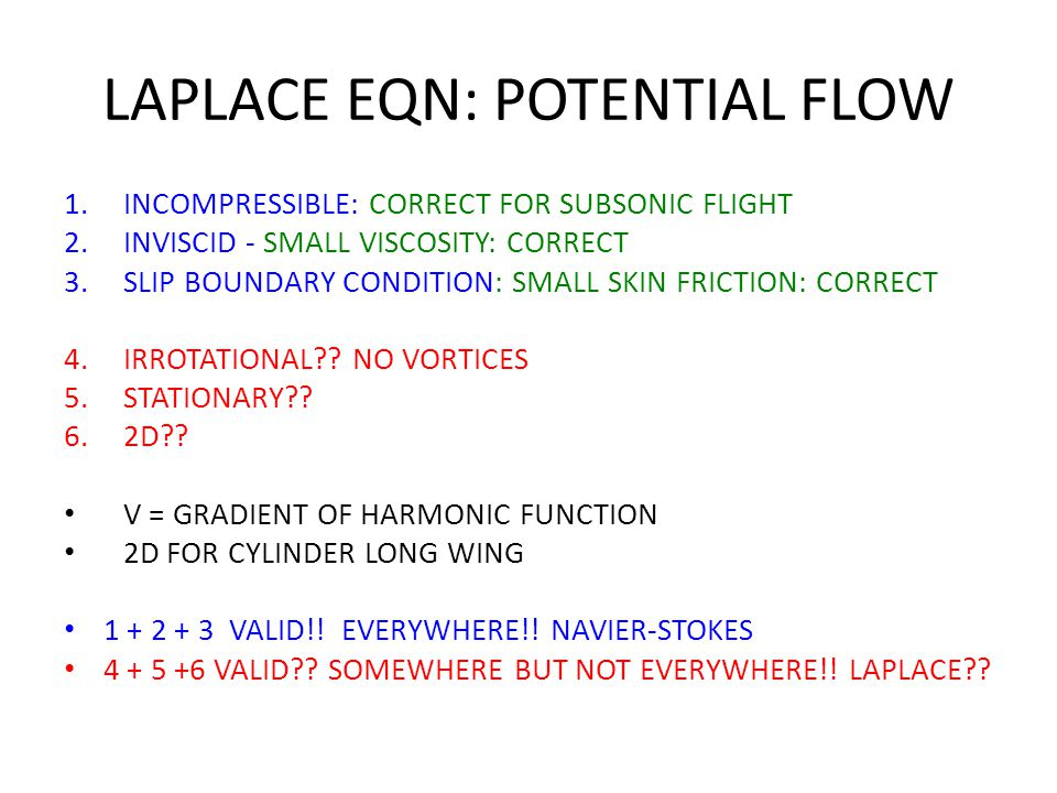 LAPLACE EQN: POTENTIAL FLOW