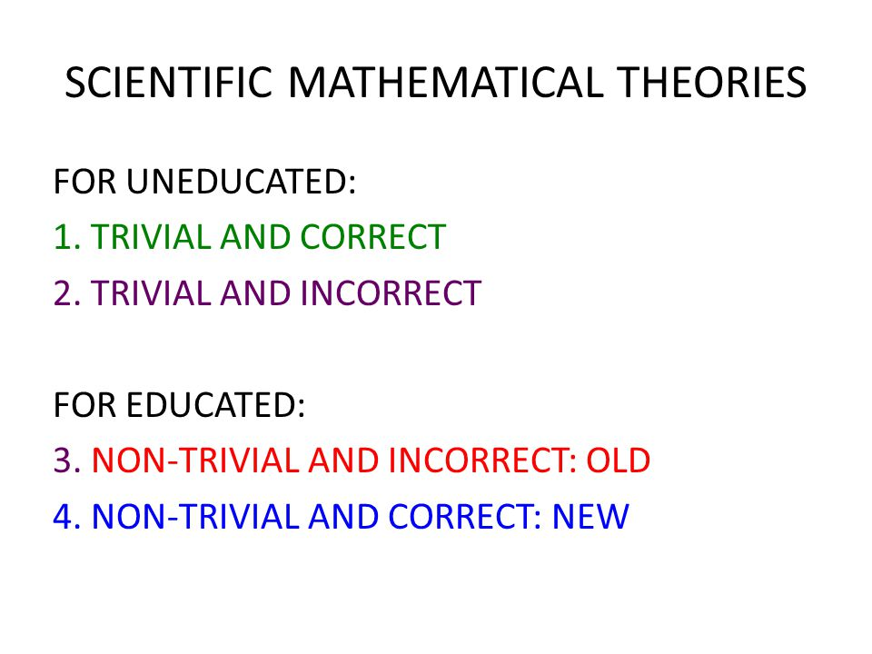 SCIENTIFIC MATHEMATICAL THEORIES