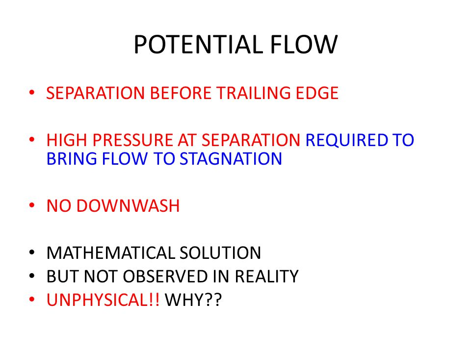 POTENTIAL FLOW SEPARATION BEFORE TRAILING EDGE