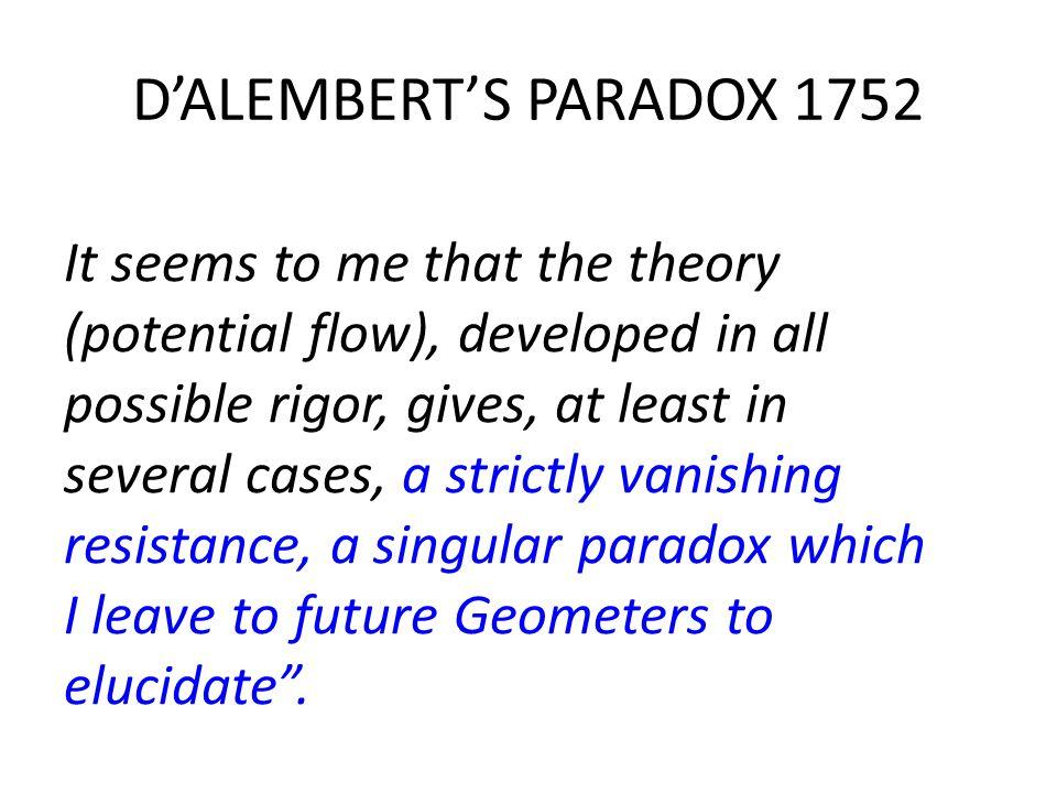 D'ALEMBERT'S PARADOX 1752