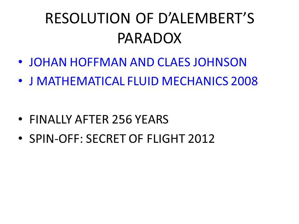 RESOLUTION OF D'ALEMBERT'S PARADOX
