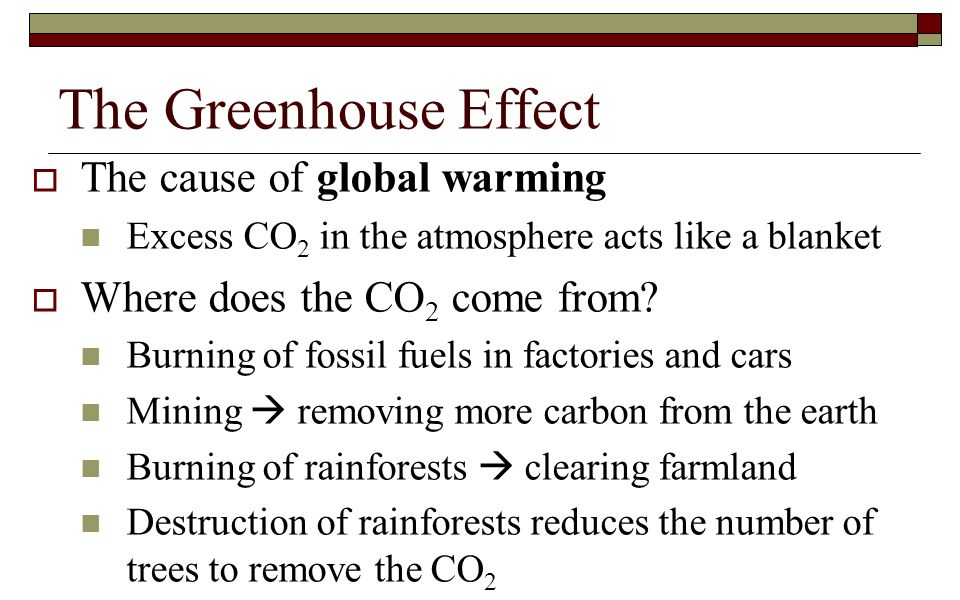 The Greenhouse Effect The cause of global warming