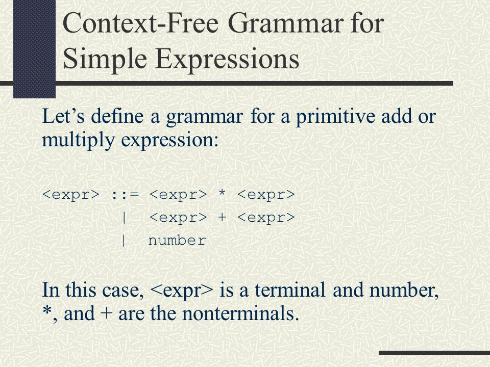 Context-Free Grammar for Simple Expressions