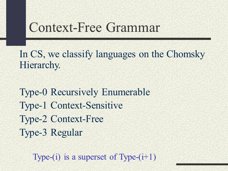 Context-Free Grammar In CS, we classify languages on the Chomsky Hierarchy. Type-0 Recursively Enumerable.