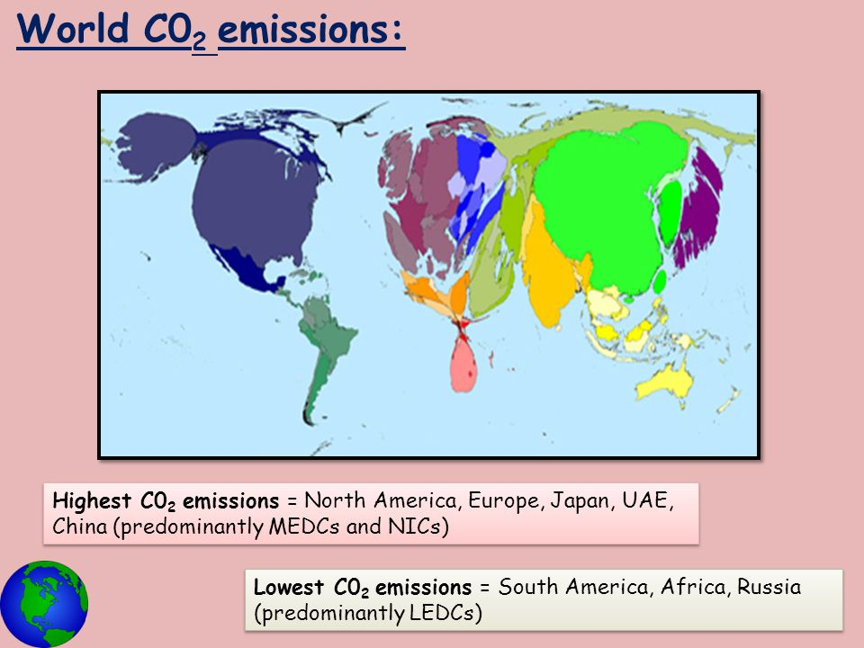 World C02 emissions: Highest C02 emissions = North America, Europe, Japan, UAE, China (predominantly MEDCs and NICs)