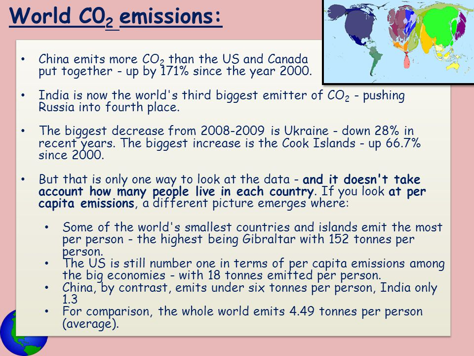 World C02 emissions: China emits more CO2 than the US and Canada put together - up by 171% since the year 2000.