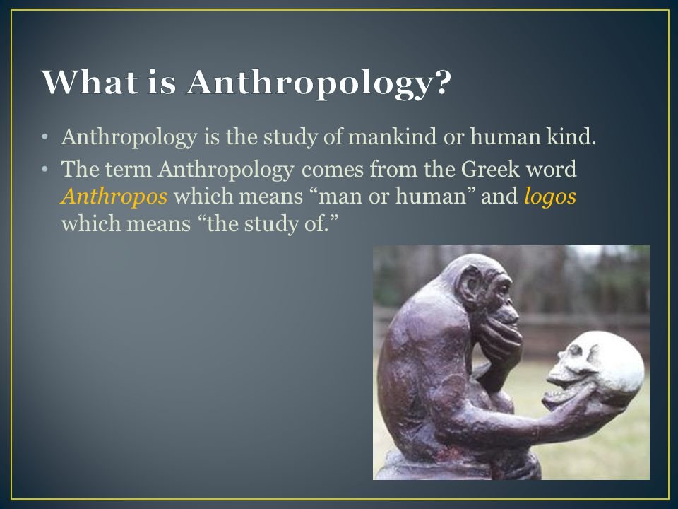 What is Anthropology Anthropology is the study of mankind or human kind.