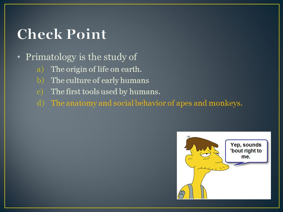 Check Point Primatology is the study of The origin of life on earth.