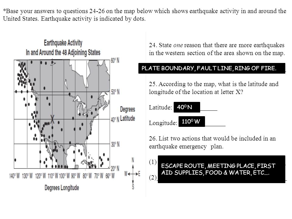 United States. Earthquake activity is indicated by dots.