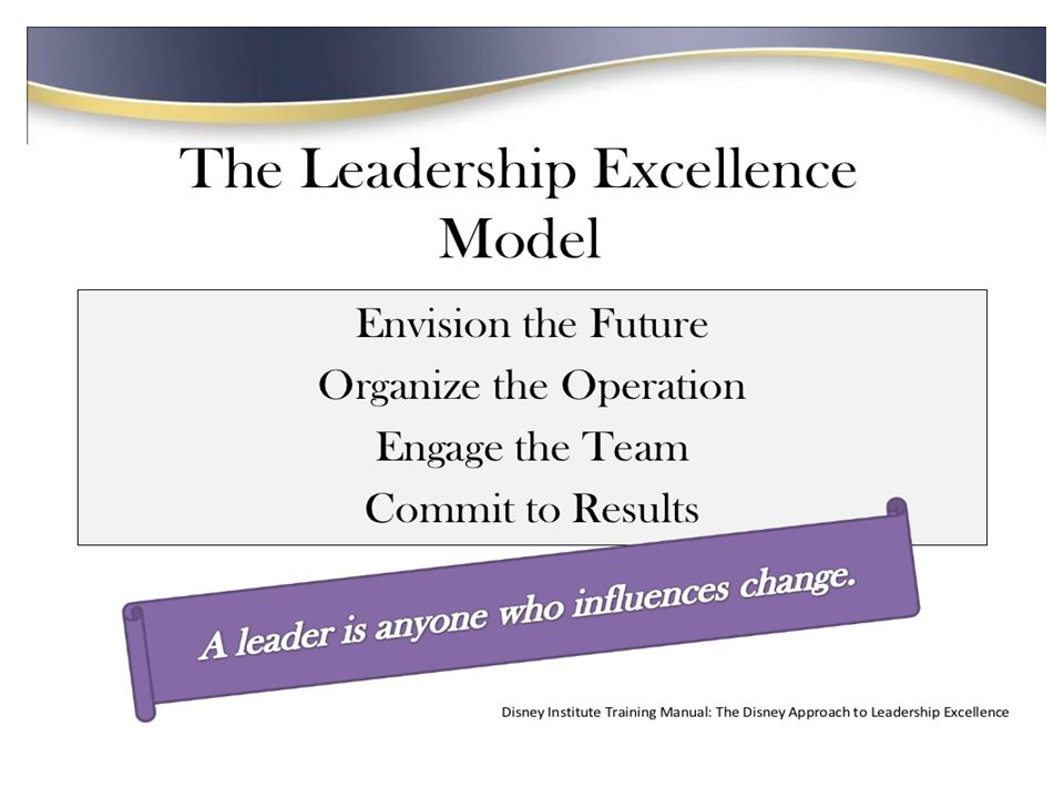 Disney leadership- Great leadership leads to employee excellence, which leads to customer satisfaction and strong business results.