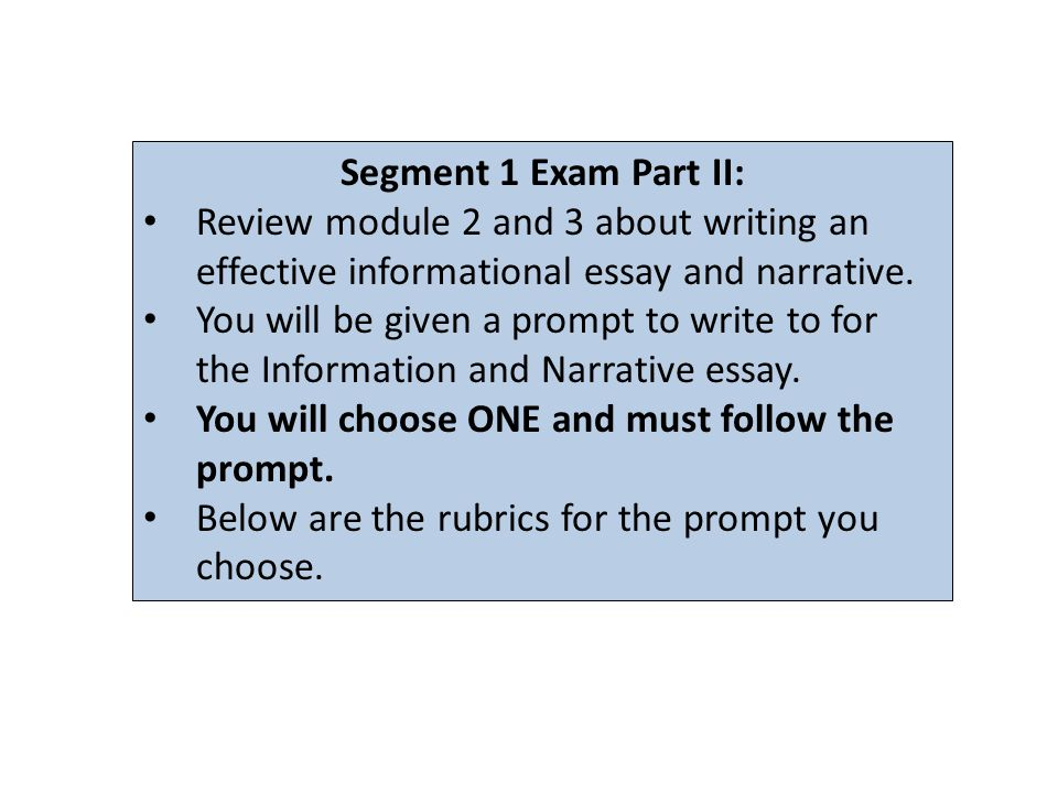 Segment 1 Exam Part II: Review module 2 and 3 about writing an effective informational essay and narrative.