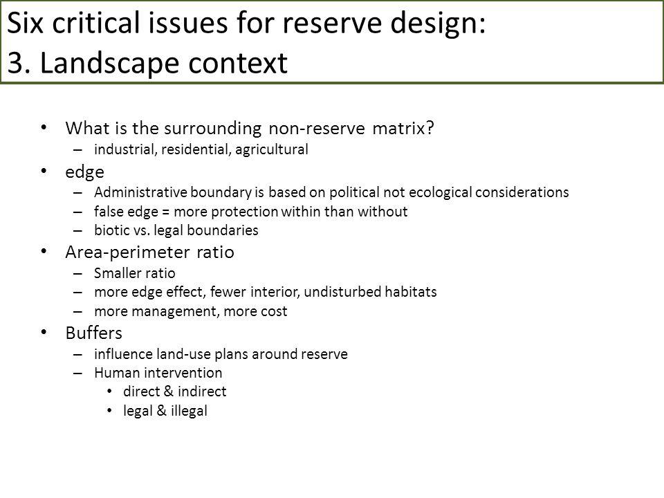 Six critical issues for reserve design: 3. Landscape context