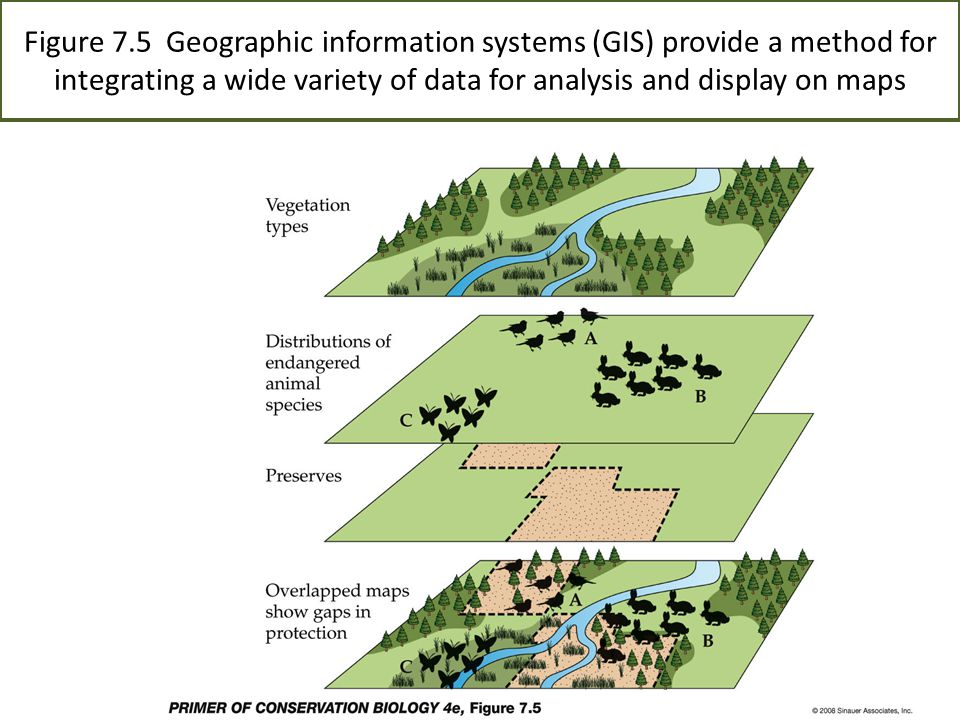 Figure 7.5 Geographic information systems (GIS) provide a method for integrating a wide variety of data for analysis and display on maps