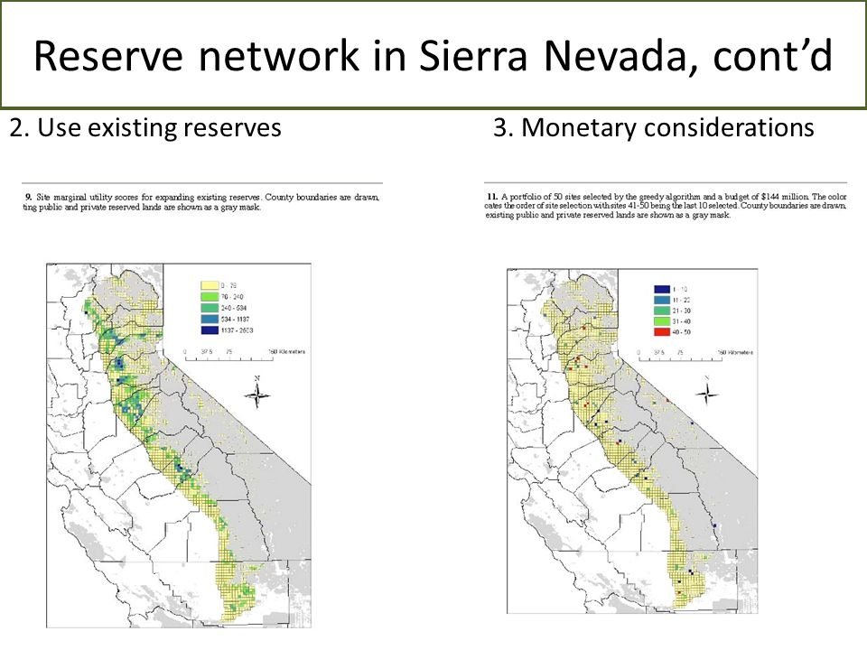 Reserve network in Sierra Nevada, cont'd