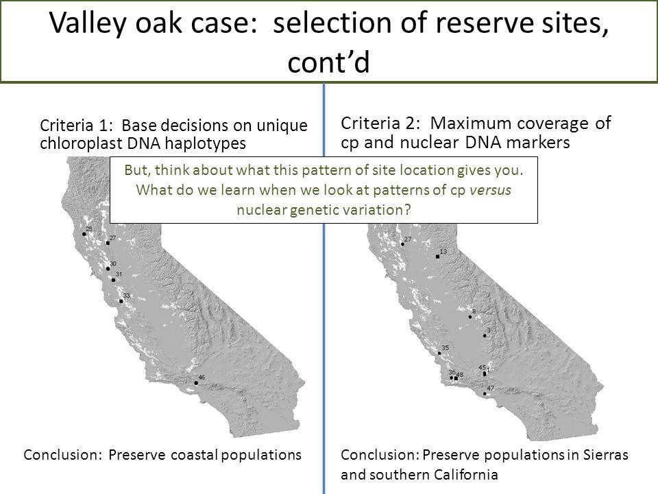Valley oak case: selection of reserve sites, cont'd