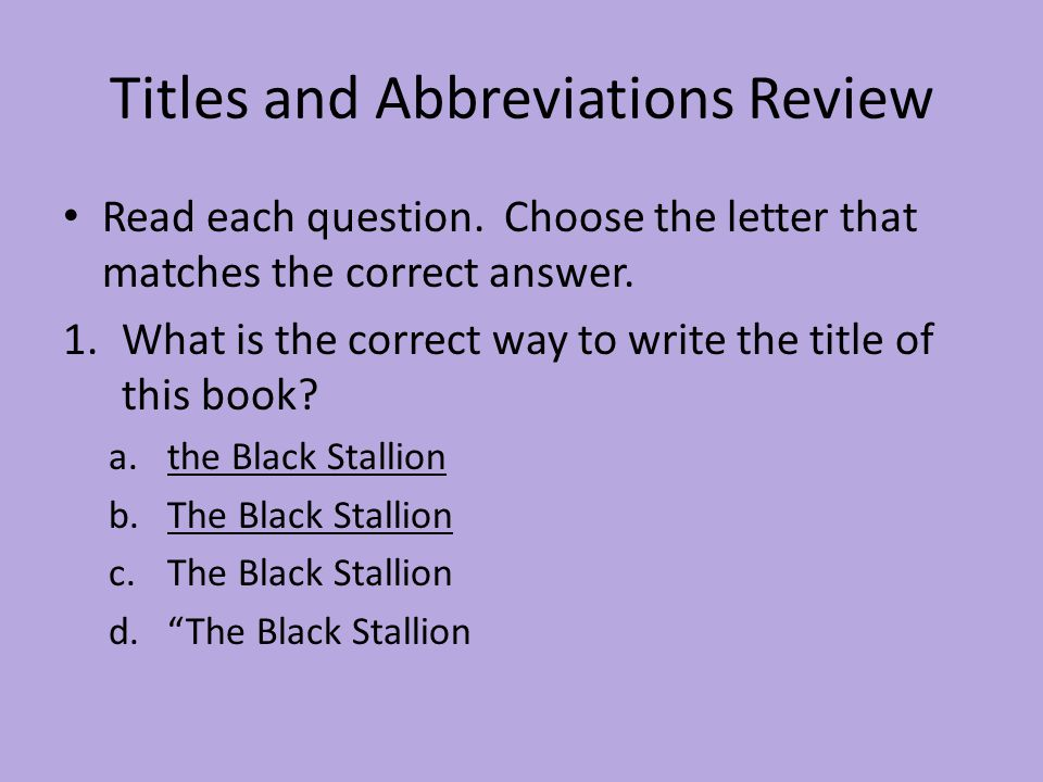 Titles and Abbreviations Review