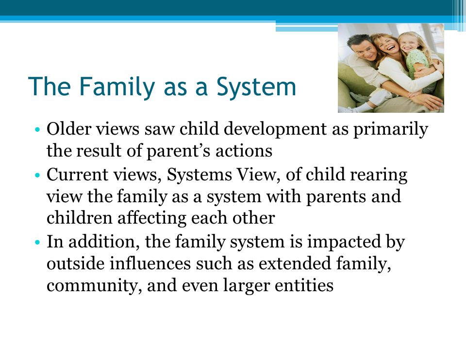 The Family as a System Older views saw child development as primarily the result of parent's actions.