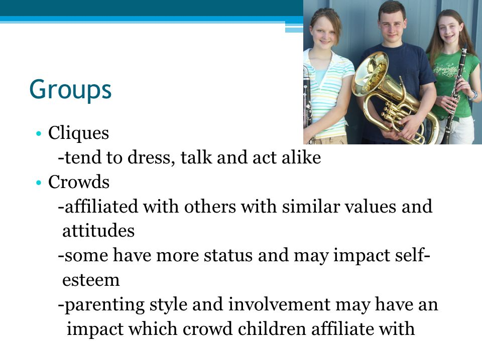 Groups Cliques -tend to dress, talk and act alike Crowds
