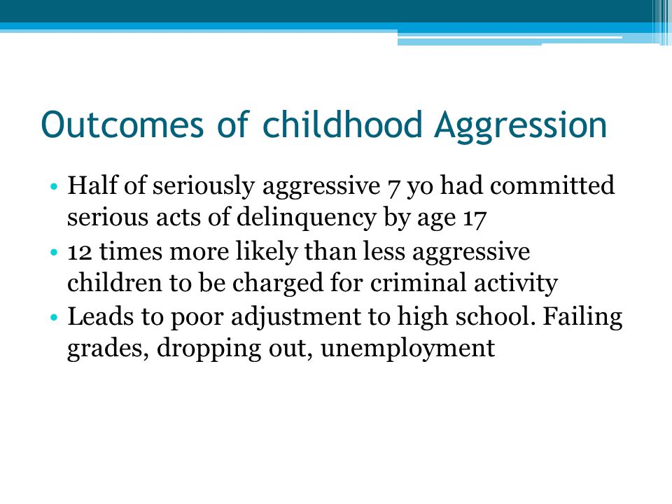 Outcomes of childhood Aggression