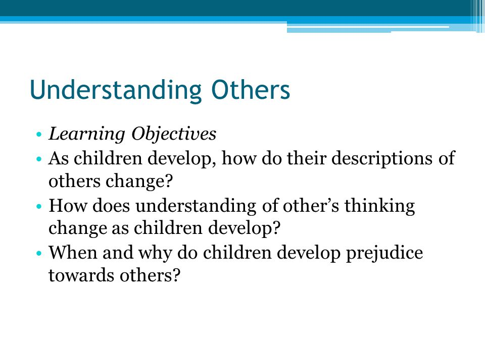 Understanding Others Learning Objectives