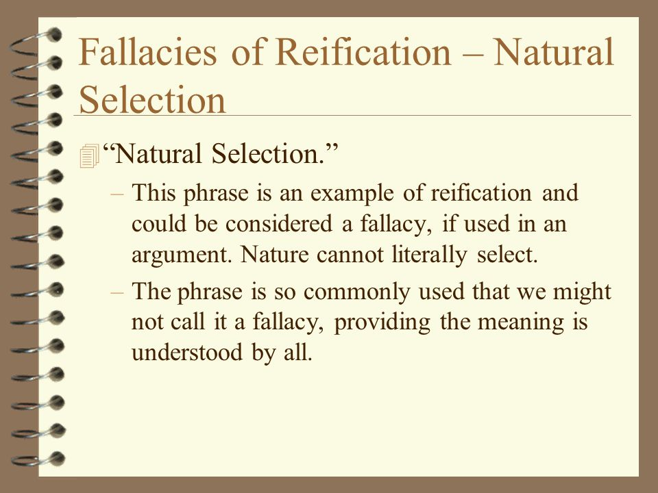 Fallacies of Reification – Natural Selection