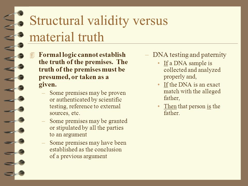 Structural validity versus material truth