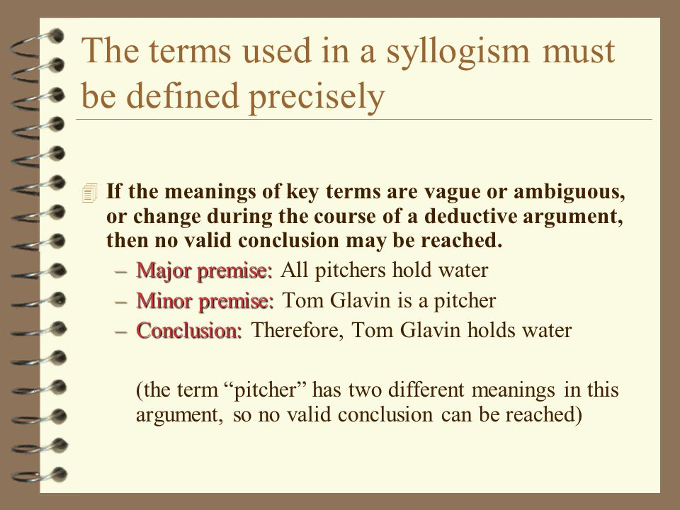 The terms used in a syllogism must be defined precisely