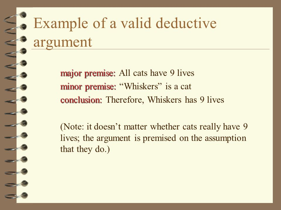 Example of a valid deductive argument