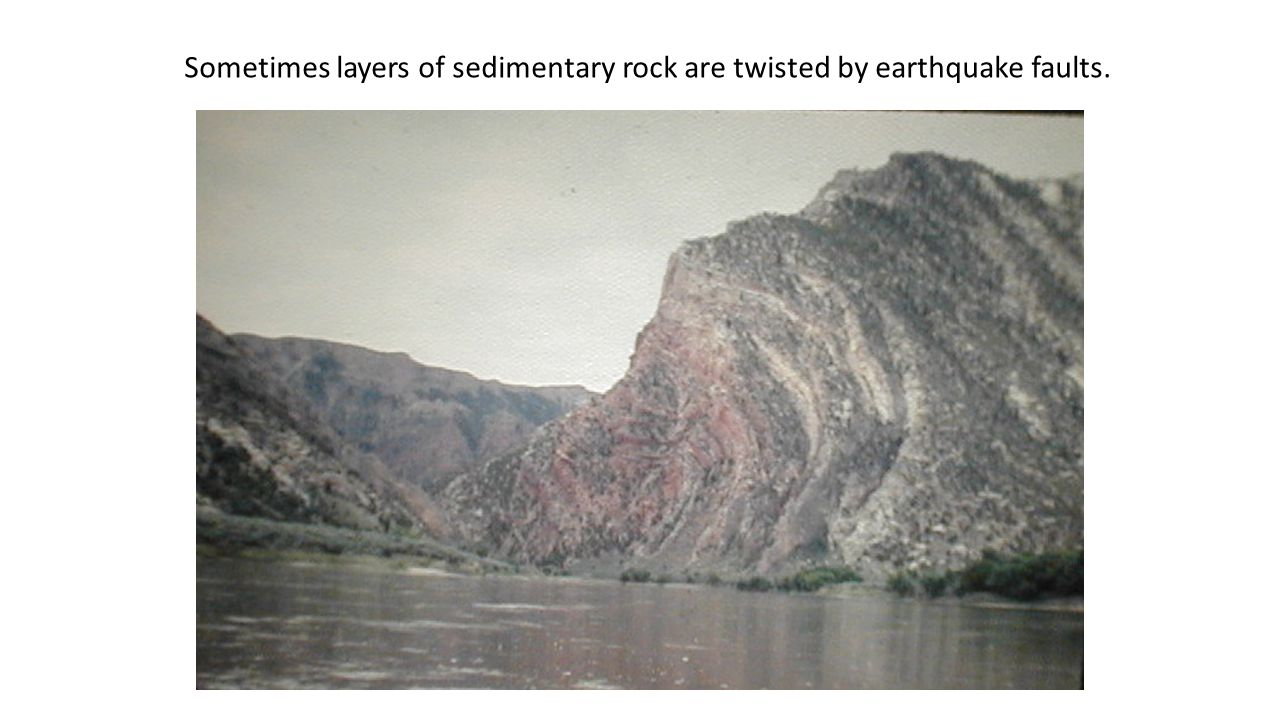 Twisting Sometimes layers of sedimentary rock are twisted by earthquake faults.