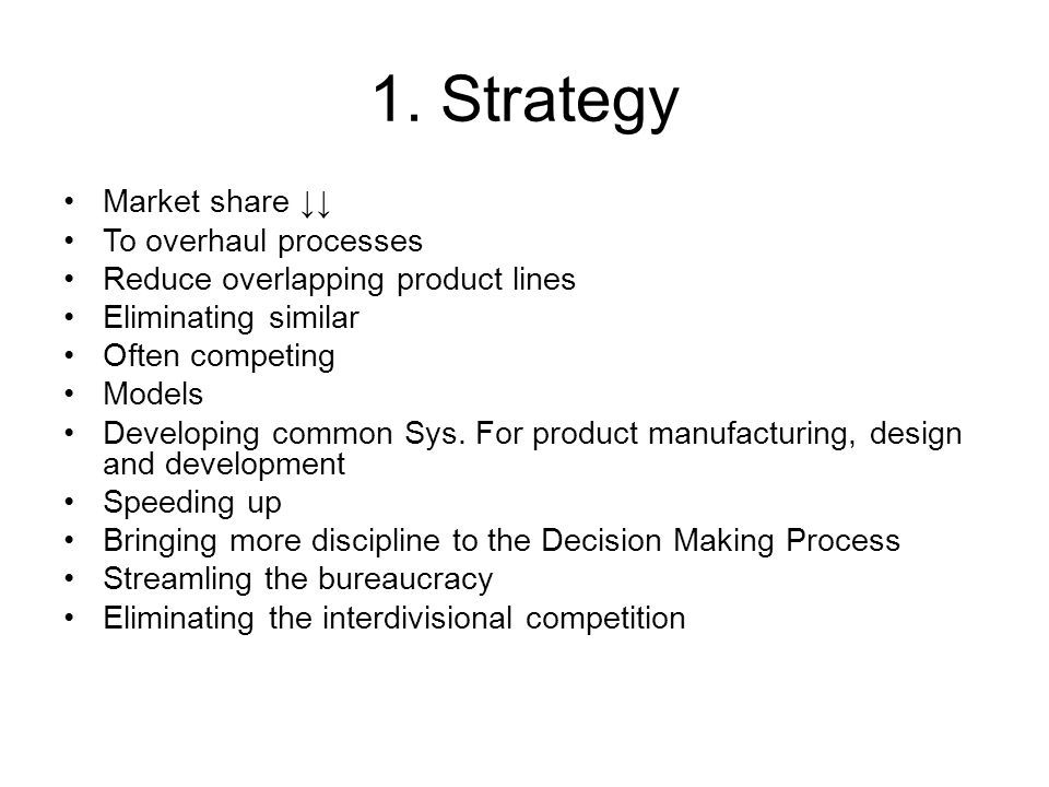 1. Strategy Market share ↓↓ To overhaul processes