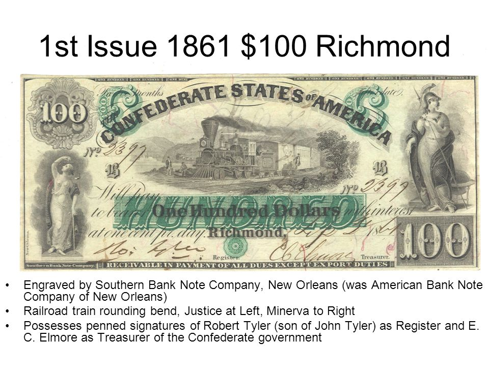 1st Issue 1861 $100 Richmond Engraved by Southern Bank Note Company, New Orleans (was American Bank Note Company of New Orleans)