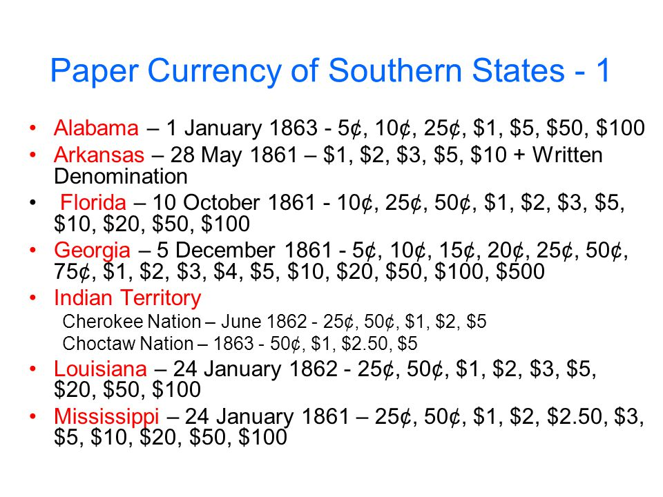 Paper Currency of Southern States - 1
