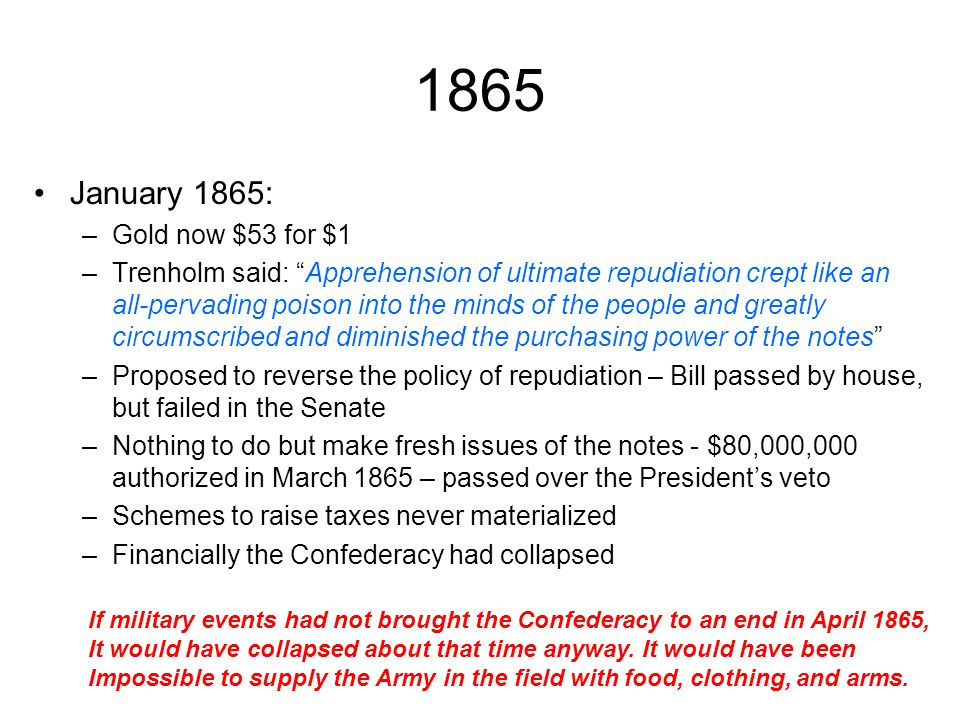1865 January 1865: Gold now $53 for $1