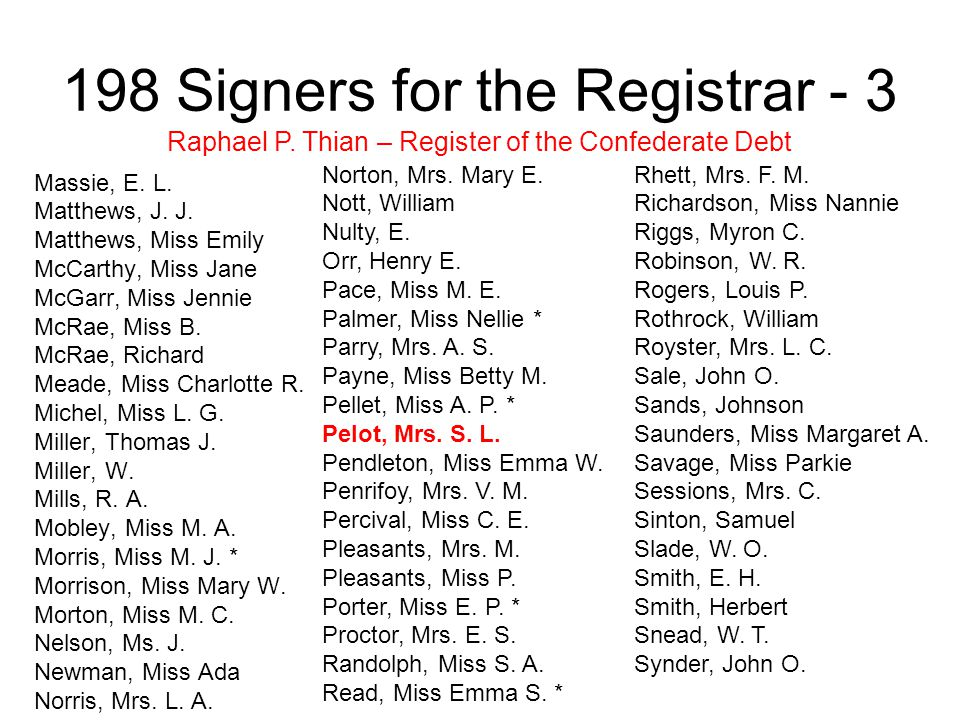 198 Signers for the Registrar - 3