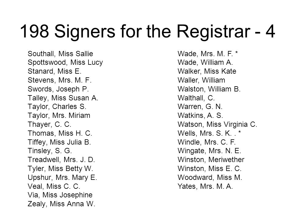 198 Signers for the Registrar - 4