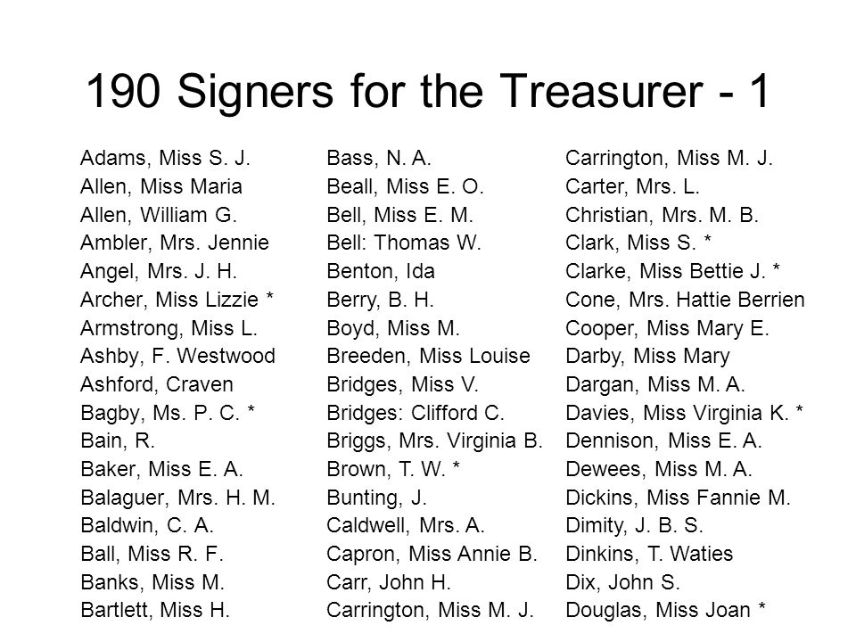 190 Signers for the Treasurer - 1