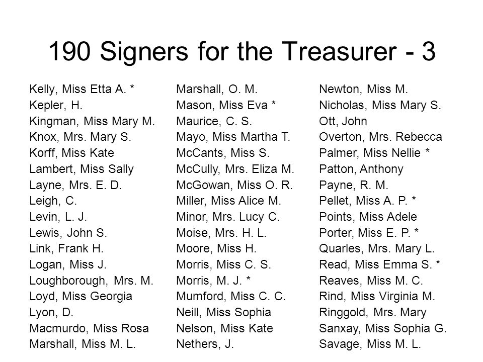190 Signers for the Treasurer - 3