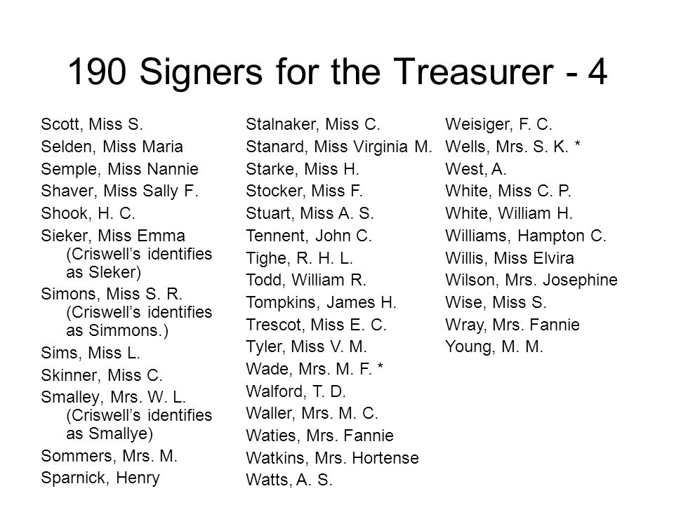 190 Signers for the Treasurer - 4