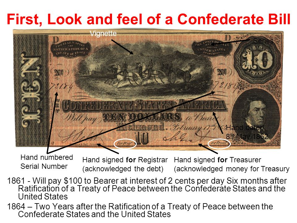 First, Look and feel of a Confederate Bill